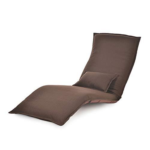 YXNN Strand-Lounge-Stuhl Mit Kissen - Multi-Winkel Verstellbarer Bodenstuhl Lazy Couch Stahlplatte Unterstützung Outdoor-Freizeit-Sitz Faltbar Tragbare 180x60cm (Farbe : Braun) -