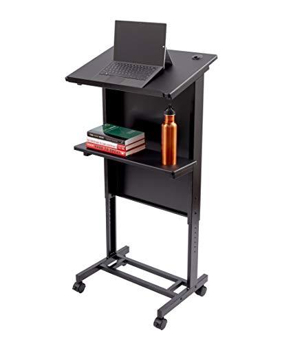 Stand Up Desk Store Mobiles höhenverstellbares Rednerpult, Schwerlast-Stahlrahmen (Schwarzer Rahmen/Schwarze Regale) -