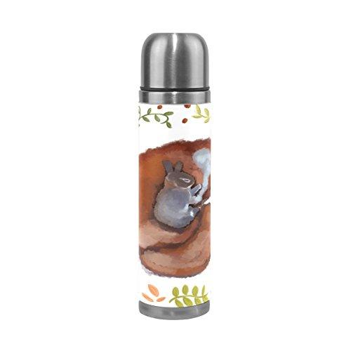 Alaza Kaninchen und Fuchs Edelstahl Wasser Flasche auslaufsicher doppelwandige Vakuum Isoliert Thermoskanne 17Oz Echt Leder Hülle verpackt (Echte Fuchs-kaninchen)