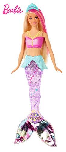 Barbie GFL82 - Dreamtopia Glitzerlicht Meerjungfrau mit blonden Haaren, Flosse mit Schwimmbewegungen und Licht, Spielzeug für die Badewanne, Puppen ab 3 Jahren (Aus Haar Immer Blau)