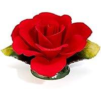 Rosa roja en porcelana, producida en Italia por Unionporcelain con la marca Napoleon, producto artesanal, Made in Italy
