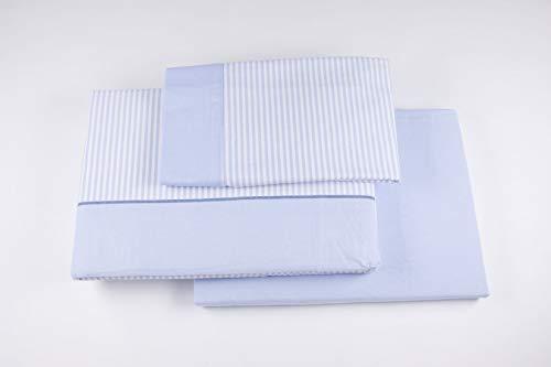 Burrito Blanco Juego de Sábanas de Franela 90 x 190/200 cm Rosa con Rayas Blancas/Juego de Cama 546 de90x190 hasta 90x200 cm, Diseño de Rayas Blancas en Fondo Azul