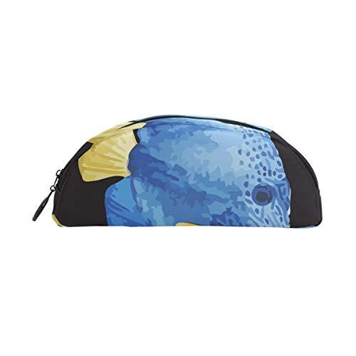 (Montoj Seafish Blue Hintergrund, halbrund, Stifteetui, Stifteetui, Kosmetiktasche Einheitsgröße 10)