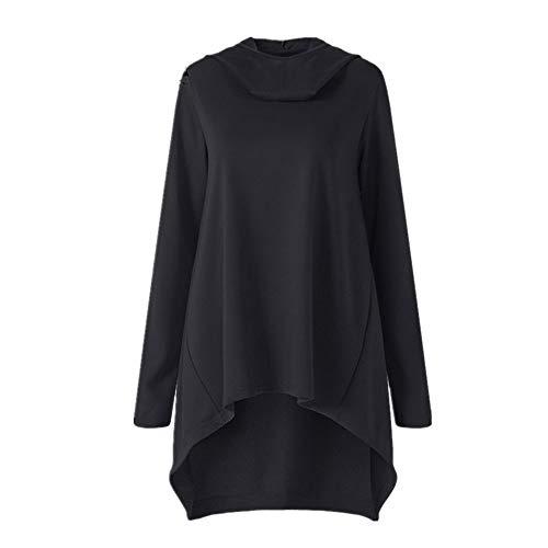 TWBB Damen Kapuzenpullover Hoodie Winter Einfarbig Unregelmäßig Lose Outwear Mit Kapuze Langarm-Shirt