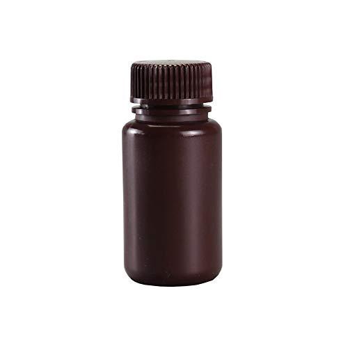 Tansoole Botellas Marrón de HDPE con Tapón Roscado - Frascos Vacíos Viales de Laboratorio, 60ml