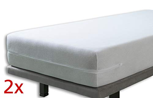 Velfont - Set mit 2X Elastischer Matratzenbezug mit Reißverschluss, Frottee Baumwolle Matratzenauflage | Matratzenschonbezug - (2X) 90 x 190/200 cm - Weisse - Matratzenhöhe 15-25cm