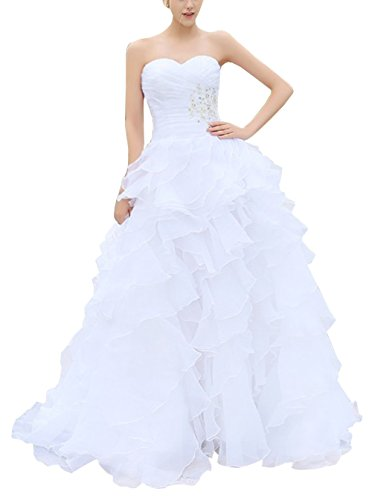 BRLMALL Women's Sweetheart Fitted Bodice Corset Ball Goqn Organza Wedding Dress