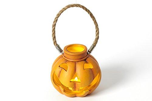 k-Kürbis mit LED-Teelicht und Henkel inkl. Batterie - Windlicht- beleuchtete Halloween Keramik-Figur (Beleuchtete Fensterdekoration Für Halloween)