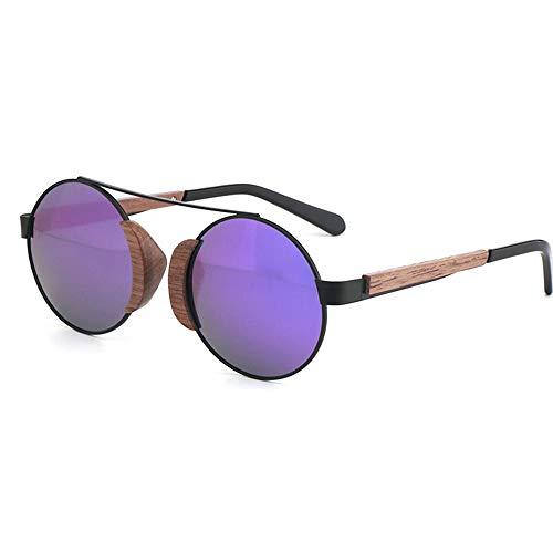 Unisex Black Walnut Frame UV400 Grün Lila Runde Damen Sonnenbrille Bamboo Wood Glasses Polarized Sunglasses (Farbe : Purple)