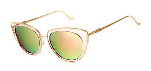 Sonnenbrille Metallrahmen Cat Eye Frauen Weibliche Sonnenbrille Sonne Brille Berühmten Designer Legierung Beine Gläser Gold Frame Pink