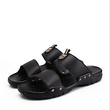 Slippers & amp da uomo;Estate Autunno Comfort microfibra casuale Heel Flat Black Giallo Marrone Sanda sandali US7 / EU39 / UK6 / CN39