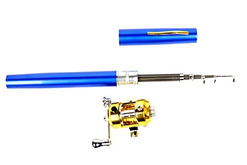 FreshGadgetz Set 1 teleskopische Angelrute für Salzwasser, 99 cm Stift Stab mit Spule und Nylon Angelschnur
