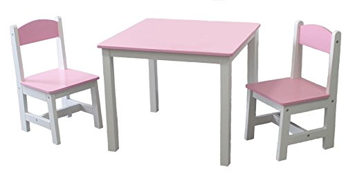 habeig® Kindertisch + 2 Kinderstuhl ROSA Kinderschreibtisch Kindersitzgruppe Kindermöbel 1A-Qualität