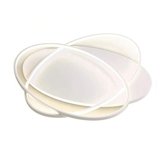 8 Licht Kronleuchter Oval (Modern LED Deckenleuchte Zwei Ringe Aluminium und Acryl Lampenschirm Oval Kunst Design Deckenlampe Geometrie Kreative Deckenbeleuchtungen Wei? Licht 6000K, 60cm * 30cm)