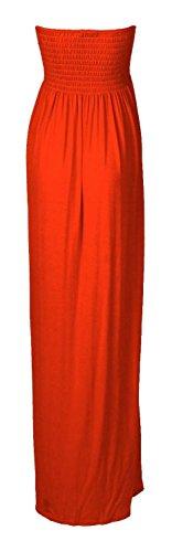 Frauen Plain Boobtube Elastischer Sheering Maxi Kleid Rost