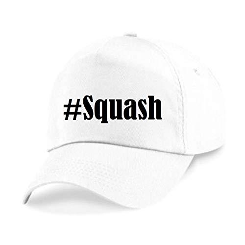 Reifen-Markt Base Cap Hashtag #Squash Größe Uni Farbe Weiss Druck Schwarz