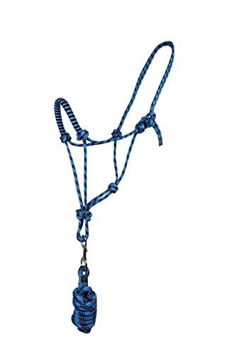 Knotenhalfter-Set Knotenhalfter Halfter mit Anbindestrick QHP 3 Größen 6 Farben (PONY, blau)