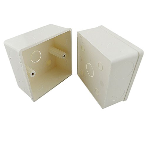 LTRGBW 86x86x40mm Recessed Electrical/Outlet Mounting Box White PVC Flush Type Wall Mounted Single Gang Junction Box Suitable for D1 D2 D3 D4 Panel Touch LED Dimmer Controller(2 pcs) Test