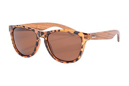 SHINU Wooden Sonnenbrille UV400 Verspiegelten Bunten Flash-Spiegel-Objektiv-Holz Brillen-Z6100 (demi-zebra, brown)