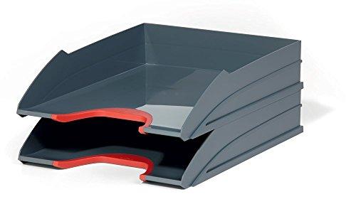 DURABLE 770203 - Varicolor Tray Set Duo, 2 vaschette porta corrispondenza, impilabili, rientranza frontale, 255x55x330 mm (1 vaschetta), rosso