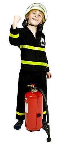 Das Kostümland Feuerwehrmann Kostüm Florian für Kinder - Schwarz Gelb Gr. - Gelb Feuerwehrmann Kostüm