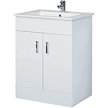 veebath sphinx minimalist 600mm white gloss vanity unit with ceramic basin sink bathroom storage unit