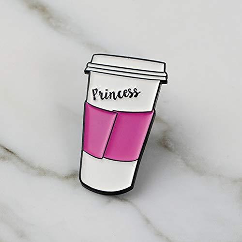 JTXZD Brosche Neu ! Kaffee äußere Tasse! Prinzessin Pink Travel Coffee Mug Pins Kaffeeabzeichen Anstecknadeln für Tassen Broschen für Kaffee Crystal Travel Mug