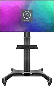 AudioShop Multi AV Height Adjustable Mobile TV Stand with Adjustable Shelf for 32-inch to 65-inch TVs | Supports up to 45 KGS Total | Integrated Cable Management |
