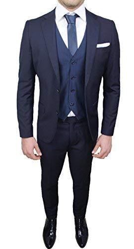 Abito completo uomo sartoriale blu elegante con gilet, cravatta e pochette in coordinato (50)