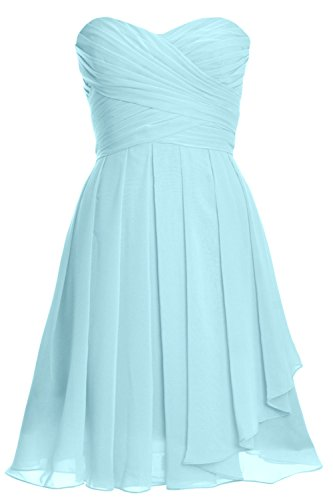 MACloth Women Strapless Lace up Short Bridesmaid Dress Cocktail Party Gown Aqua