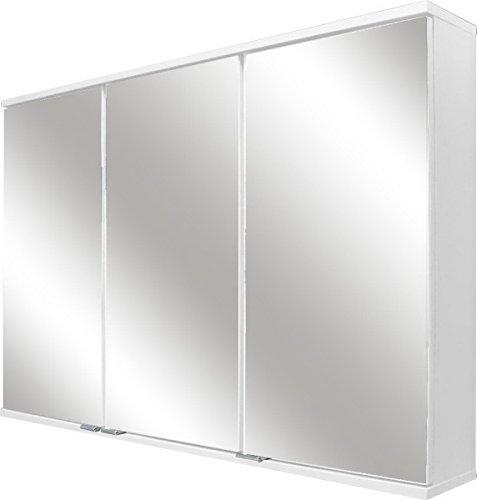 Fackelmann LED Spiegelschrank / Spiegelschrank zum Aufhängen / Badmöbel / Maße (BxHxT): ca. 100,5 x 68 x 16 cm / Korpus Farbe Weiß Hochglanz / Breite 100,5 cm / Badspiegel / Spiegelschrank fürs Bad