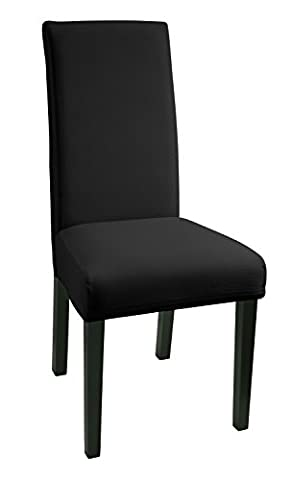 SCHEFFLER-HOME Mia aus Microfiber Stuhlhussen 2 Stück, Stretch-Stuhlbezug elastische moderne Husse, Dekoration Stuhl-Abdeckung aus Elastik-Stoff mit Gummiband für universelle Passform, bi-elastic Spannbezug, sehr pflegeleicht und langlebig - Schwarz