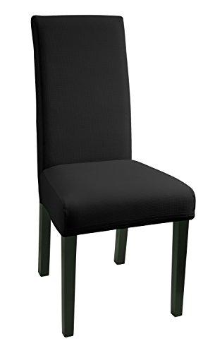 tuhlhussen 2 Stück, Stretch-Hussen Stuhl-Bezug bi-elastische Schutz-Husse, Moderne Abdeckung mit Gummiband, Spannbezug - Schwarz ()