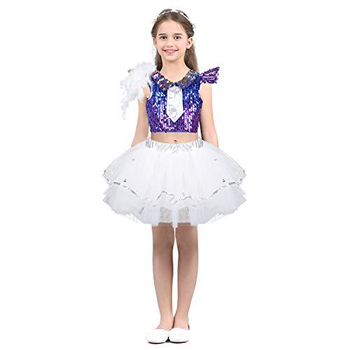 dPois Mädchen Pailletten Tanzbekleidung Tanzkostüm Crop Top Tüllrock mit Haarspange Kinder Hip pop Jazz Tanz Kleidung Prinzessin Party Performence Kostüm Weiß 122-128/7-8Jahre
