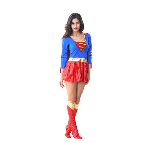 GAOJUAN Halloween Cosplay Kostüm Erwachsene Cosplay Slim Superwoman Kostüm Cosplay Kostüm Spiel Uniform Mit Socken Kostüm Geeignet Für Karneval Thema Parteien Halloween Neujahr Festival (Superwoman Halloween Kostüm)