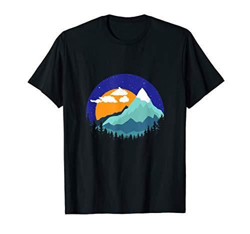 Berge Gipfel Sonnenuntergang Geschenk T-Shirt -