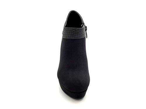 CHIC NANA . Chaussure femme bottine à talon aiguille plateforme, aspect daim, talon & cheville motif croco. Noir