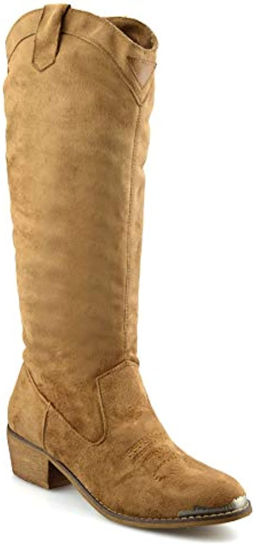 a6f51ce3eb6b Dimonx Shoes Studio Ladies Womens Faux B07GTRFSVD Suede Riding Mid Calf  Block Heel Riding Cowboy Biker Boots Shoes B07GTRFSVD Parent e24b7da ...