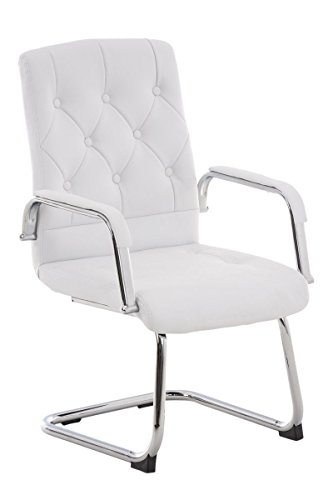 moderner Konferenzstuhl für Meetingraum, Besprechungszimmer, frei schwingend - bezogen mit Kunstleder in Weiß, bequeme Sitzgelegenheit für Besucher mit Metall-Gestell