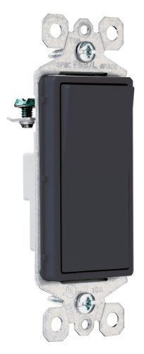 Pass and Seymour TM870BKCC10 Decorator Switch, Single Pole, 15-Amp 120/277-Volt with Ground, Black by Pass & Seymour