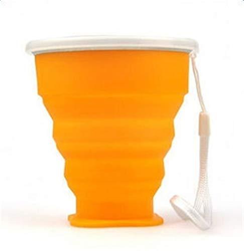 Reise Tragbare Faltbecher Silikon 300 ML Teleskop Faltbare Kaffee Teetassen Mit Deckel for Outdoor-Sport Camping Cup (Color : Orange) - Orangen-espresso-tasse
