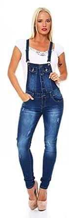 10680 Fashion4Young Damen Latzhose Hose pants mit Träger Röhren Jeans Overall Jeanshose Trägerhose (S=36, Dunkelblau)