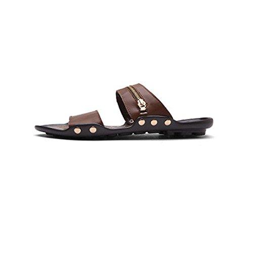 M盲nner WANGXN Retro Metall Leder Hausschuhe Flip Flops Komfort Luxus schwarz braun khaki 607 brown