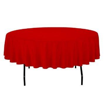 OWS 152,4cm Zoll rot Polyester Tischdecke Tisch, rund Hochzeit Party Event rot (60-zoll-runde Tischdecke Rot)