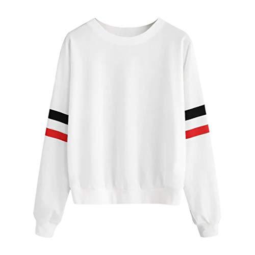 Sweatshirts Damen ◆Elecenty◆ Baumwolle Kurz Bauchfrei Sweatshirt Warm Herbst Freizeit Frühling Pullis Locker Oberteile Mode Tops Gestreift Bluse -