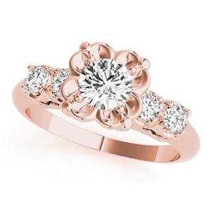 Damen Hochzeit 1,60 Karat Moissanit Rundschliff Solitär Verlobungsring Set massiv 14K 18K Rosegold Echt Gold Braut- & Eheringe Ringgröße K L M H G N