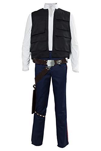 Han Solo Kostüm Coole Fancy Erwachsenes Cosplay Kompletter Anzug Top und Hose Halloween Karneval Cosplay Kleidung (Top Für Erwachsene Halloween-kostüme)