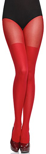 Merry Style Damen Fasching Strumpfhose MS 387 (Rot, S (32-36))