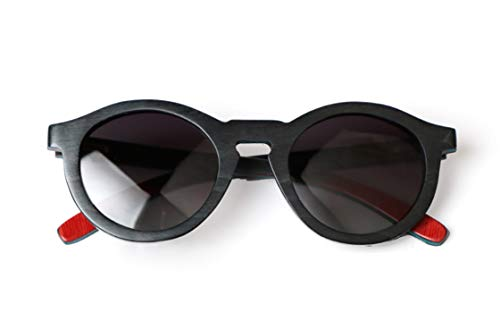 Daawqee Round Colour Skateboard Wood Polarized Sunglasses For Women Men Vintage UV400 Eyewear Women Bamboo Glasses Black frame