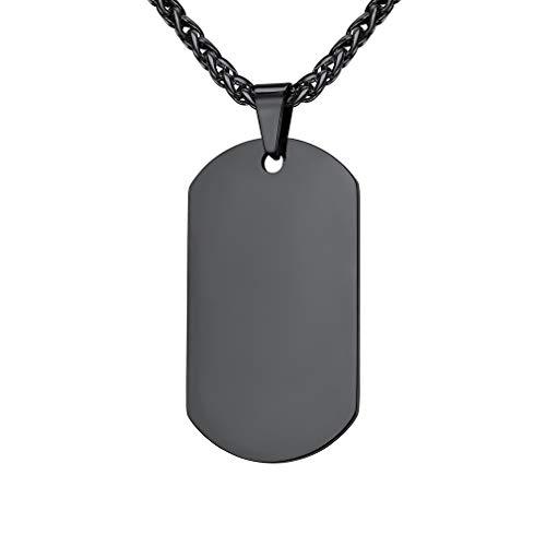 Custom4U Collar con Colgante y Cadena Dudadera 50cm 19.7 Pulgadas Largo Acero Inoxidable Hombre Mujer Placa Militar